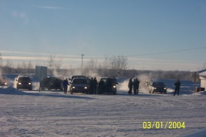 2004.32 - Cars waiting for us at Fort Vermilion - Jan 03 2004