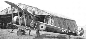 Avro 504 in front of tent hangar