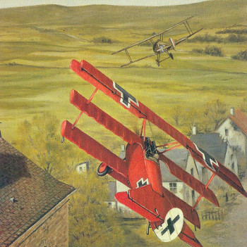 Richthofen chasing May - Barry Weekley painting